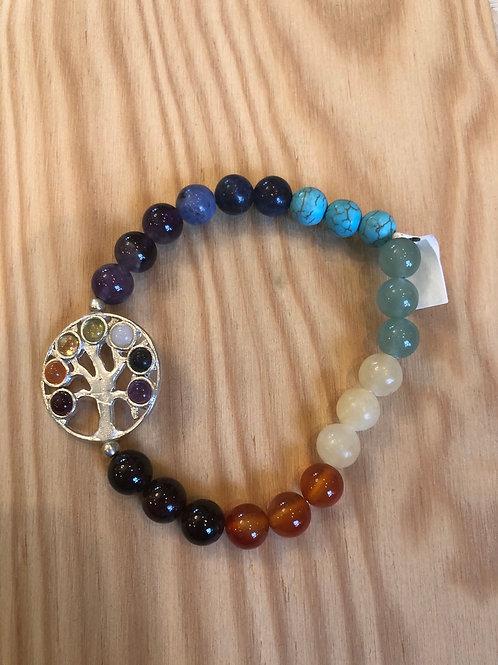 Gemstone Bead Bracelet w/ Chakra Stone