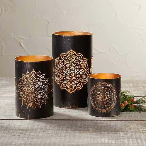 Copper Cut-out Candle Holders
