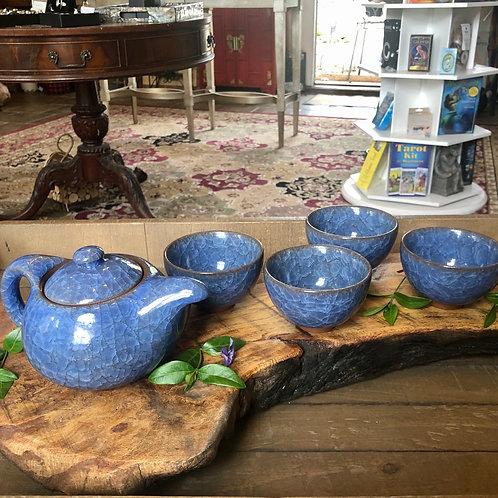 Periwinkle Blue Ceramic Tea Set for 4
