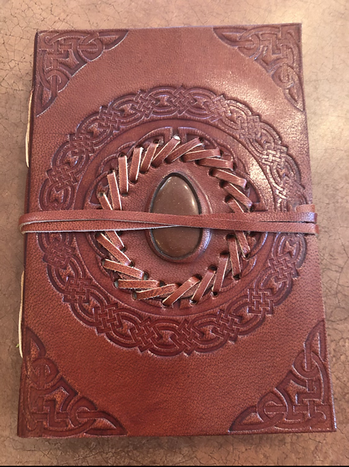 Hand Tooled Leather Journal with Gemstone