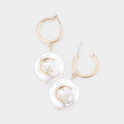 Moon Star Pearl Earrings
