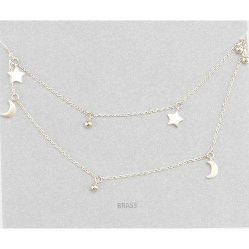 Double Layered Star & Moon Necklace