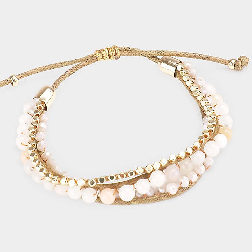 Semi Precious Stone Accented Adjustable Bracelet