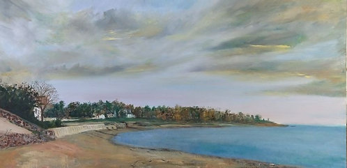 Burying Hill Beach in Greens Farms painting by artist Jason Pritchard
