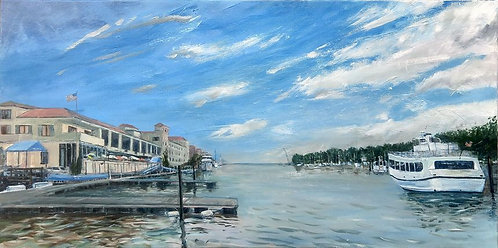 Greenwich Harbor Oil Painting by artist Jason Pritchard