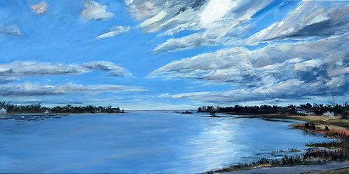 Cos Cob Park oil painting over looking Cos Cob Harbor, by artist Jason Pritchard