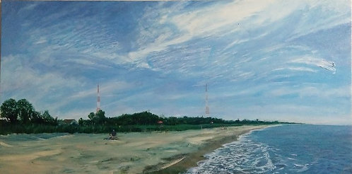A painting of Pleasure Beach, Stratford, Connectictut by artist Jason Pritchard