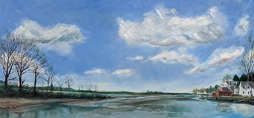Painting of Southport Harbor from Tide Mill by artist Jason Pritchard