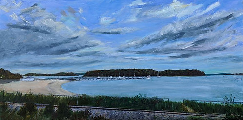 Monument Beach Oil Painting from scenes of Cape Cod by artist Jason Pritchard