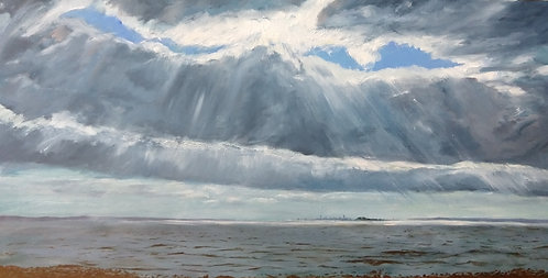 Greenwich Point Park facing Manhattan Skyline Oil Painting by Jason Pritchard