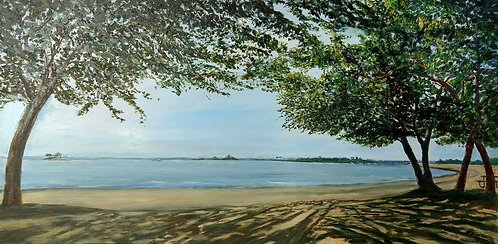 Shady Beach Park looking to Calf Pasture Beach painting by artist Jason Pritchard