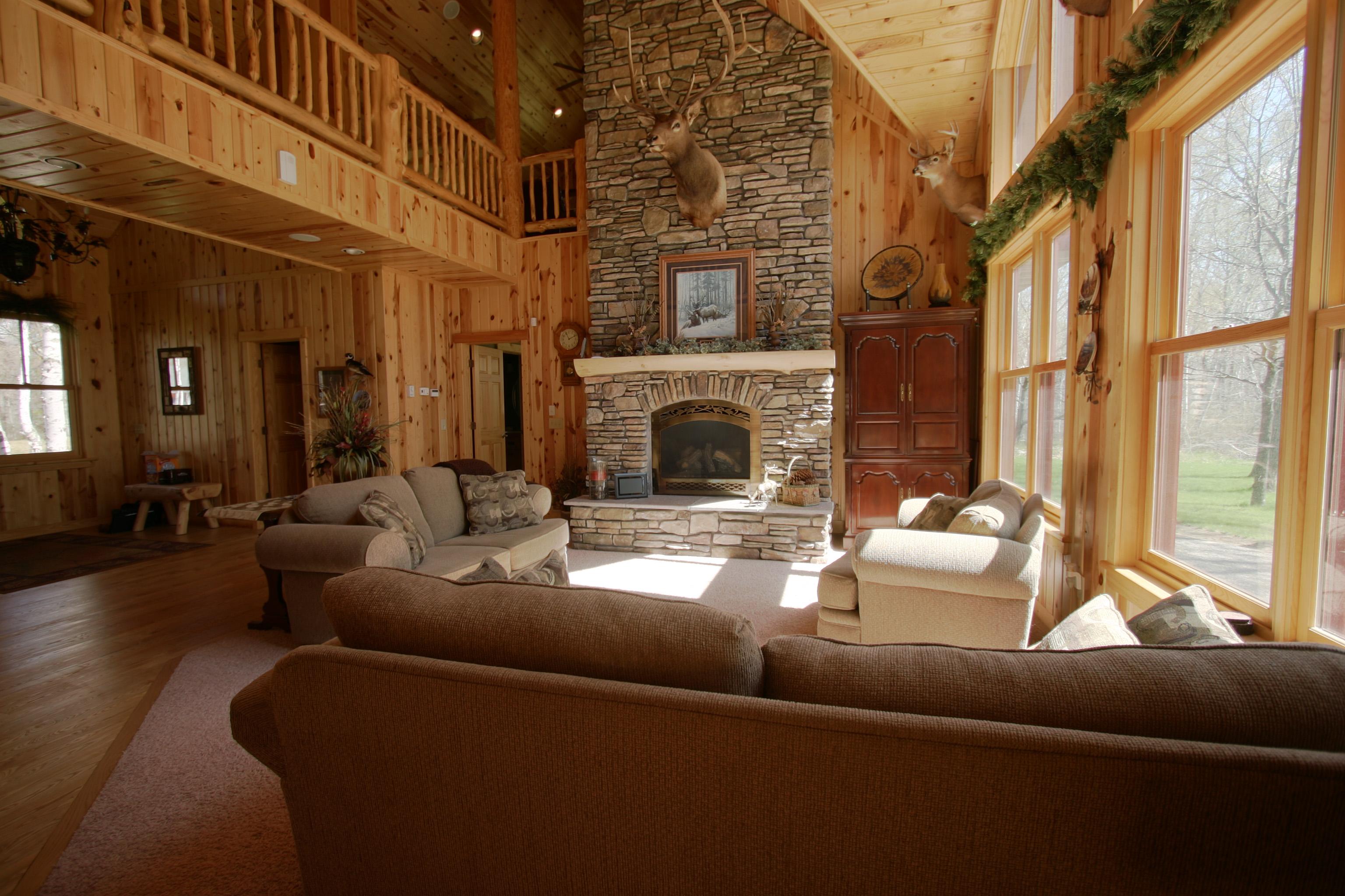 Dramatic fireplace.