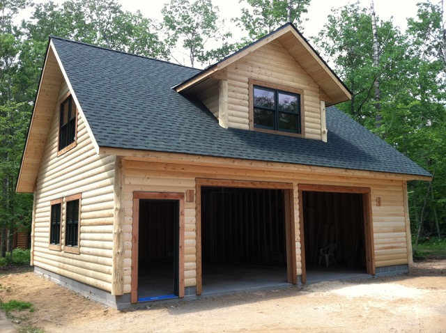 New log garage.