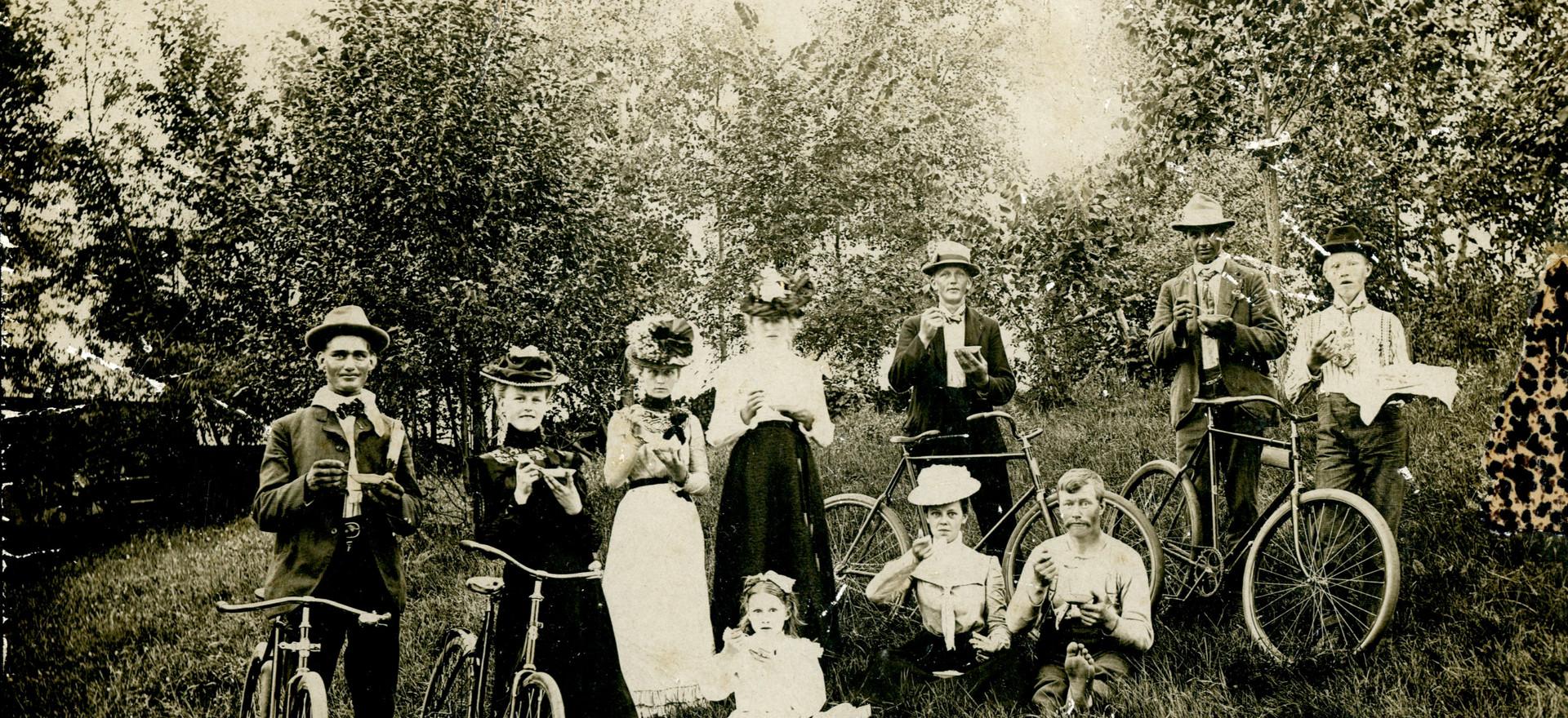 Historic Photo. Bicycle picnic - Scandia, MN ca. 1910