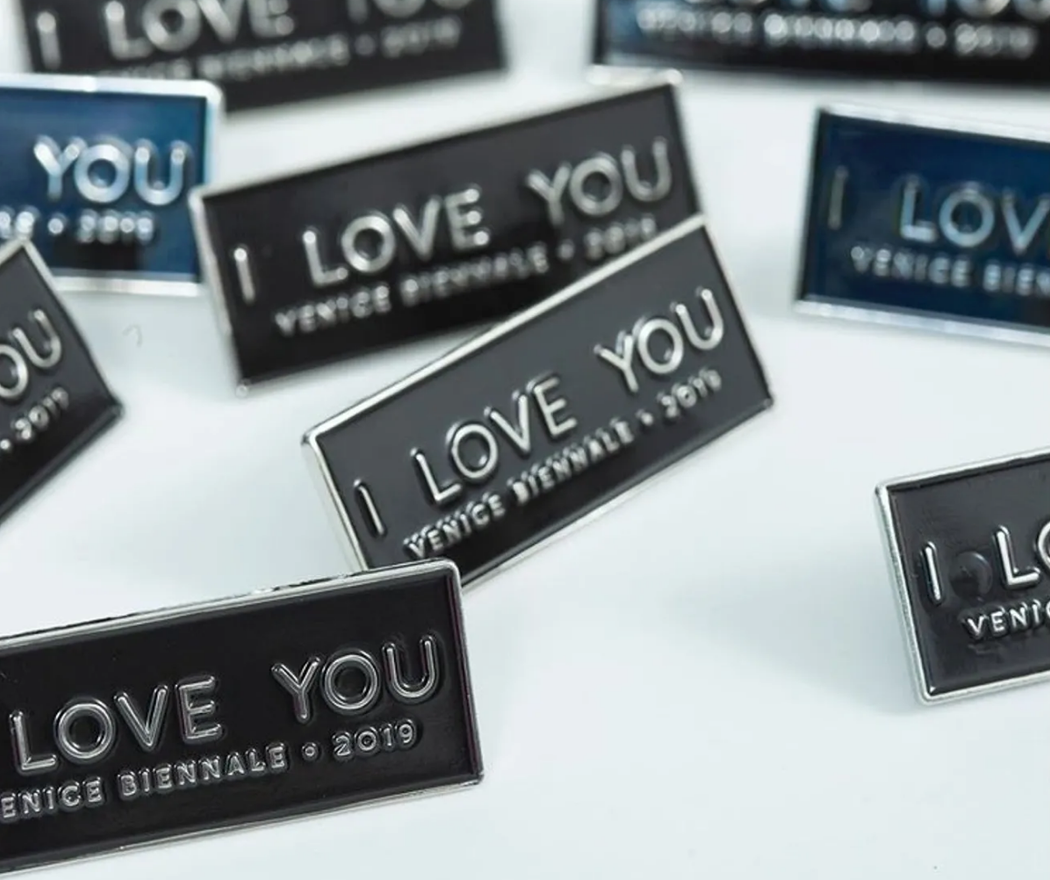 I Love You Institute Venice pin. As part of the nomadic and participatory nature of the I Love You Institute, Labovitz chatted with Venice Bienniale participants and visitors. After a discussion about what love means to them, she offered this gift.
