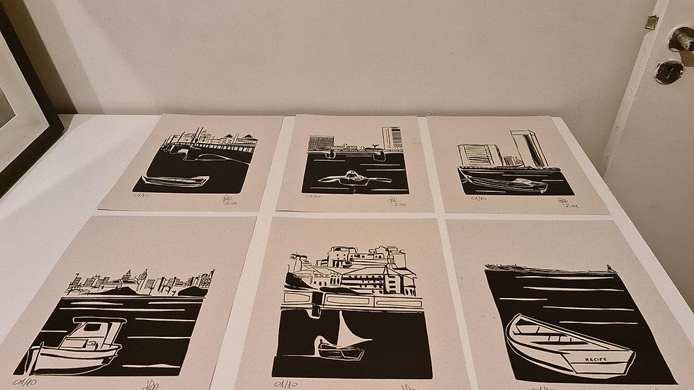 Conjunto de Gravuras Barcos do Recife
