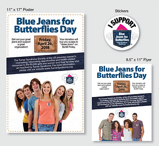 Materials for Blue Jeans for Butterflies Fundraiser