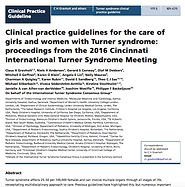 Clinical Practice Guidelines for Turner Syndrome