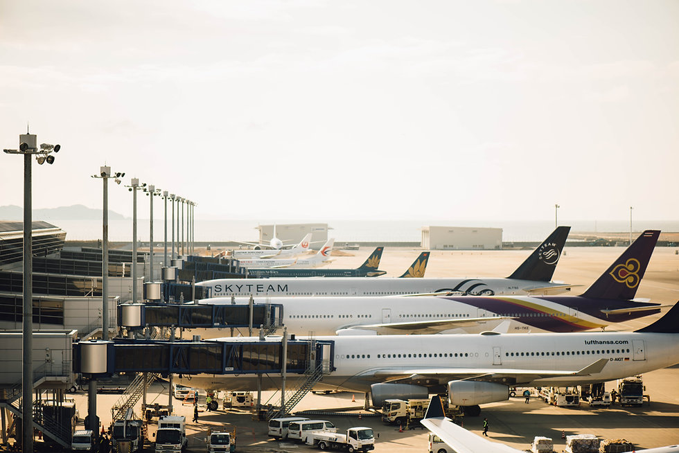 Aeroplanes waiting at airport