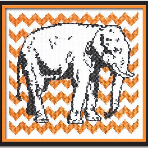 Elephant with Orange Chevron