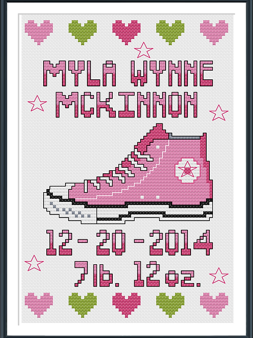 Pink Converse Birth Announcement