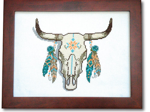 Cow Skull & Feathers
