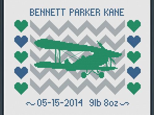Airplane Boy Birth Announcement