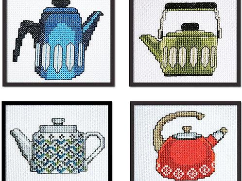 Set of 4 Retro Teapots | Tiny Modernist
