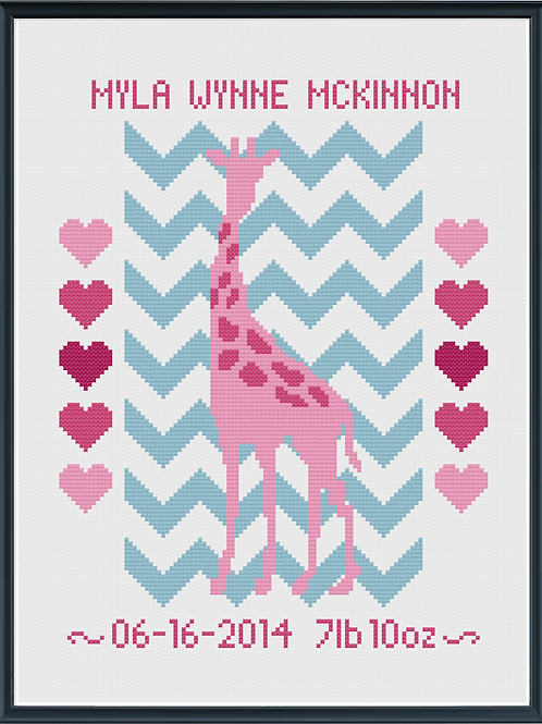 Giraffe Girl Birth Announcement