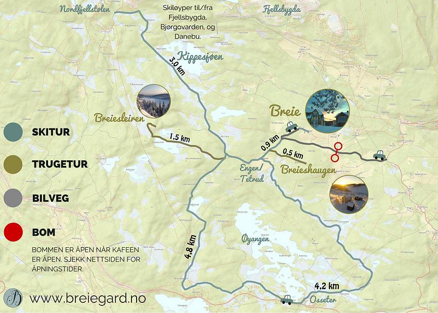 Kart over vinterturer fra Breie