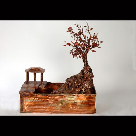 Copper Bonsai Tree and Pagoda Fountain, Medium Tabletop Fountain.jpg