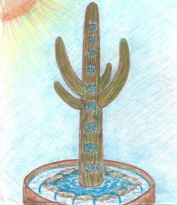 Copper Saguaro Waterfall Fountain Sketch