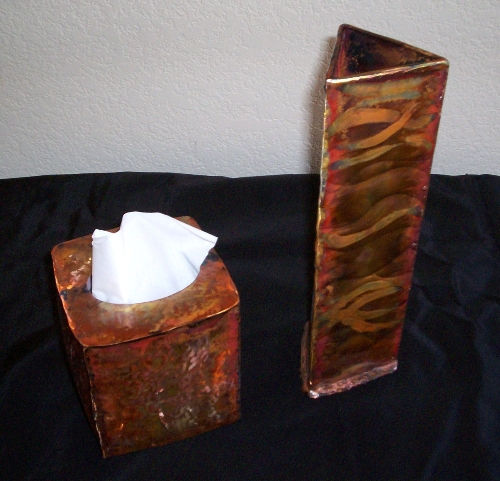 copper triangle vase and tissue cover cu