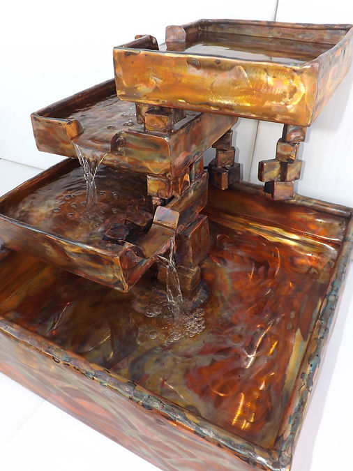 Copper cube water fall fountain, large table size .JPG