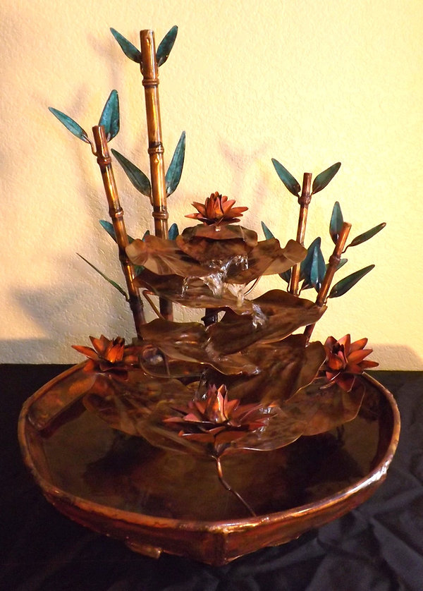 Water Lily Pad Cascade Copper Fountain 2