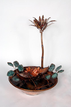 Hawaiian Palm Tree and Canoe, Copper Fountain