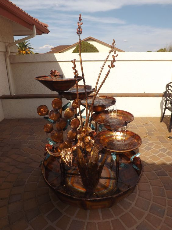 Copper Fountain Large Waterfall with 5 Tiers and Southwestern Desert Decor of Agave, Prickly Pear Ca