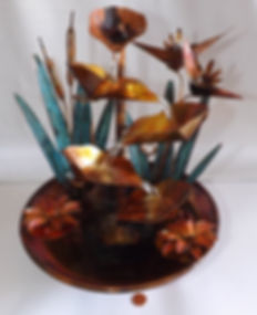 Copper Bird of Paradise Small Table Foun