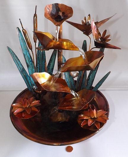 Copper Bird of Paradise Small Table Foun