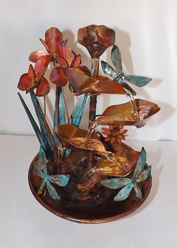 Copper Dragonflies and Iris Flowers Smal