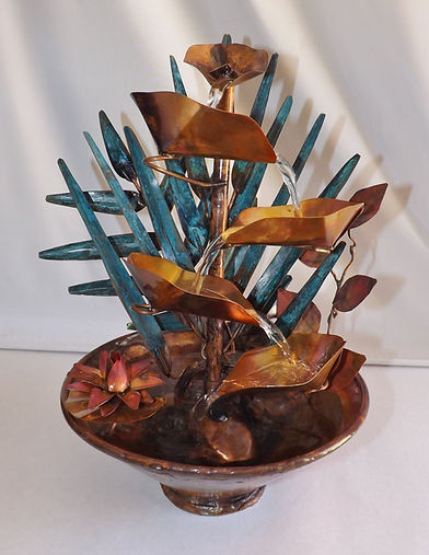 Copper Tropical Leaf Fountain with water