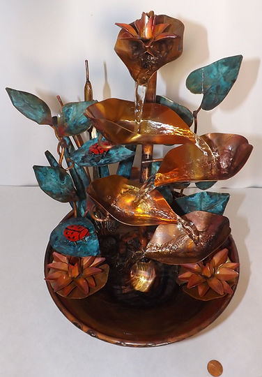 Lady Bugs Small Tabletop Copper Fountain