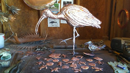Ibis Bird Sculpure with Baby Sea Turtles