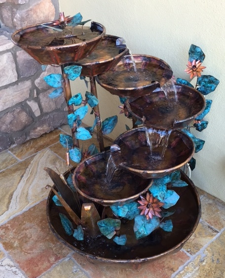 Copper Waterfall Fountain with Cattails, Ivy Leaves, and Water Lily Flowers 1-A-2.JPG