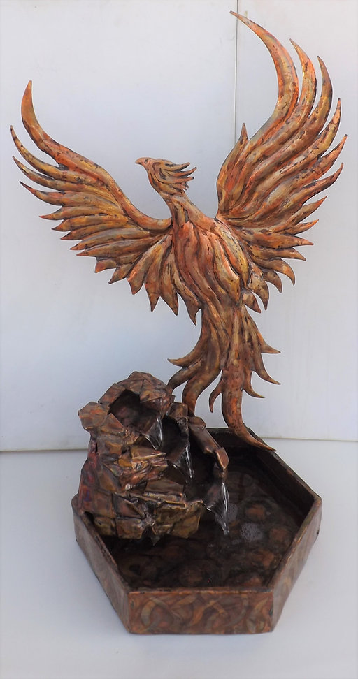 Copper Phoenix Mythical Bird Sculpture Waterfall Fountain 2 DSCF3267.JPG