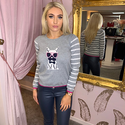 Grey Frenchie Knit Sweater