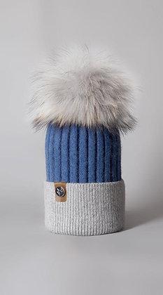 Blue & Grey Pom Pom Hat