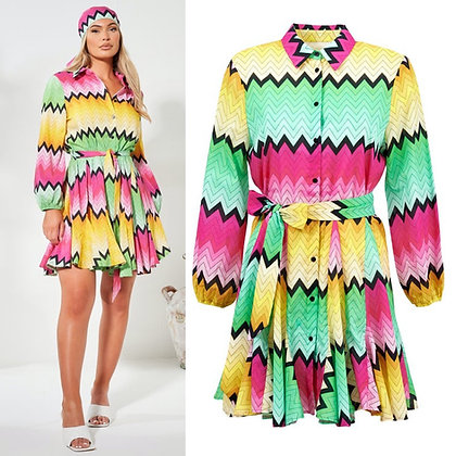 Multi Neon Shirt Dress