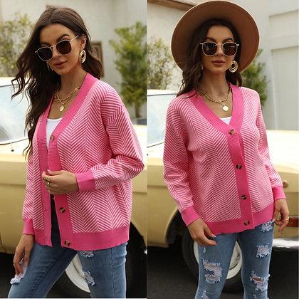 Pink Herringbone Cardigan