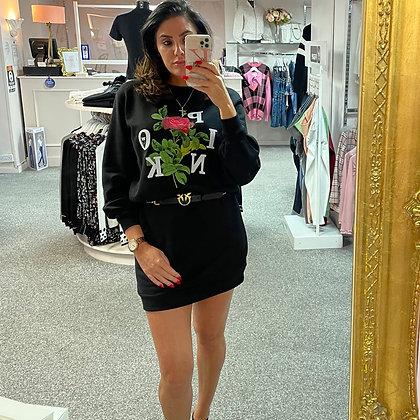 PINKO Sweatshirt Dress with Rose Print